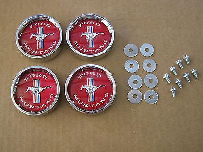 1965 1966 Mustang Styled Steel Wheels Center Caps Black  LICENSED Scott Drake
