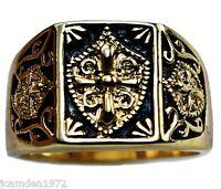 Knight's Templar Crest Mens Ring 14k Gold Overlay Size 8
