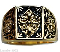 Knight's Templar Crest Mens Ring 14k Gold Overlay Size 9