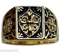 Knight's Templar Crest And Shield Mens Ring 18k Gold Overlay Size 9