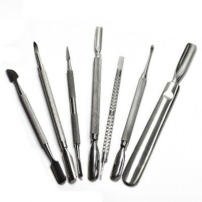 Nail Manicure Stainless Steel Cuticle Pusher 2 in 1 Nail Tool
