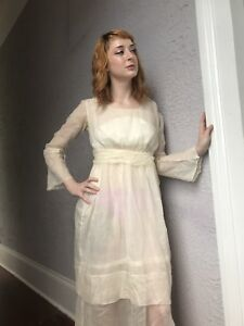 Image is loading 1900-Vintage-Edwardian-Sheer-Gossamer-White-Cotton-Dress- b7922a871