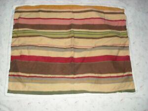 POTTERY-BARN-Serape-Stripe-STANDARD-SHAM-Pillow-Case-Red-Tan-Khaki-Cotton-Linen