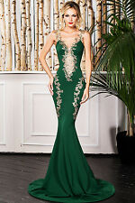 Green Deluxe Lace Applique Mermaid Maxi Cocktail Evening Party Dress SizeUK 8-10