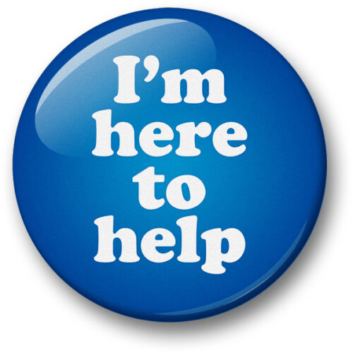 /'I/'m Here To Help/' 38mm badges Shop assistant helper advisor carer contact staff