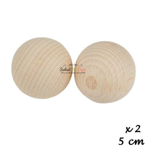 Lot de 2 Boules pleines 5 cm diam Billes en bois de hêtre non traité non per