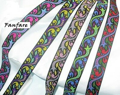 "1/"" 25mm /'Fanfare/' Jacquard Ribbon x 1 yard various colours"