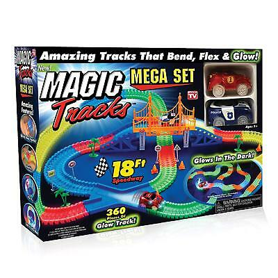 Magic Tracks MEGA Set with 2 Race Cars and 18 feet of Glow in the Dark Racetrack