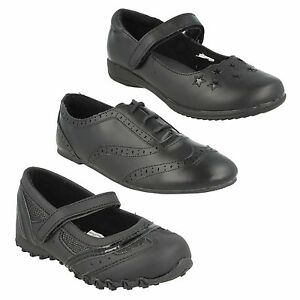 8ca72f25664e G2G GIRLS CHILDRENS BLACK BROGUE LACE UP RIPTAPE STRAP FLAT SMART ...