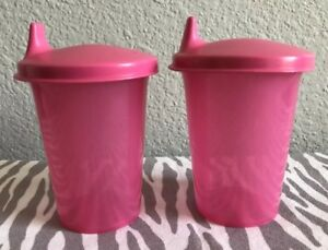 Tupperware-Kids-Bell-Tumblers-with-sippy-seals-7-oz-Set-of-Two-New-Pink