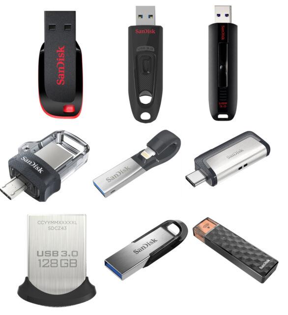 SanDisk 16GB 32GB 64GB 128GB 256GB USB 3 0 Flash Drive Ultra Fit Memory  Stick