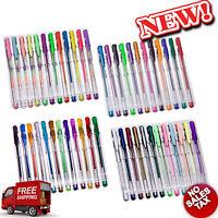 Gel Pen Set 48 Color Pens Coloring Book Art Glitter Ink