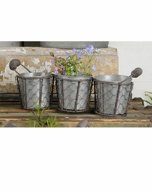 Rusty Primitive Country Chicken Wire Gathering Basket with Galvanized Buckets