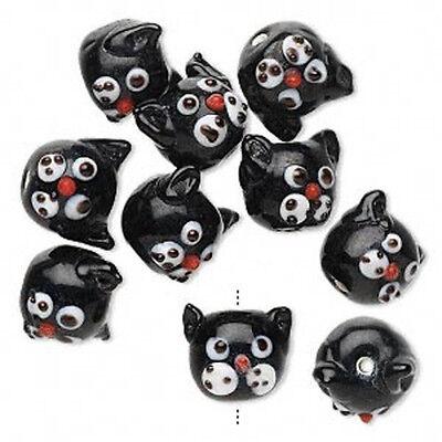 10* Adorable BLACK CAT HEAD Lampwork Glass Beads 13mm