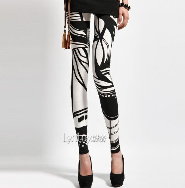 2013 New Women's Black & White Stripe & Plaid Print Leggings Tights Pants 1 Size