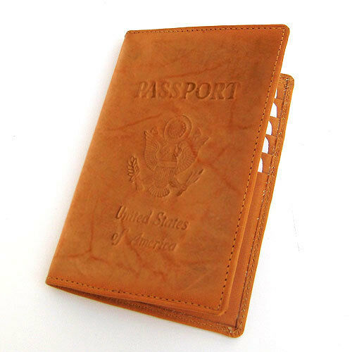Tan USA Passport Premium Cowhide Leather Cover Travel Card Case Wallet