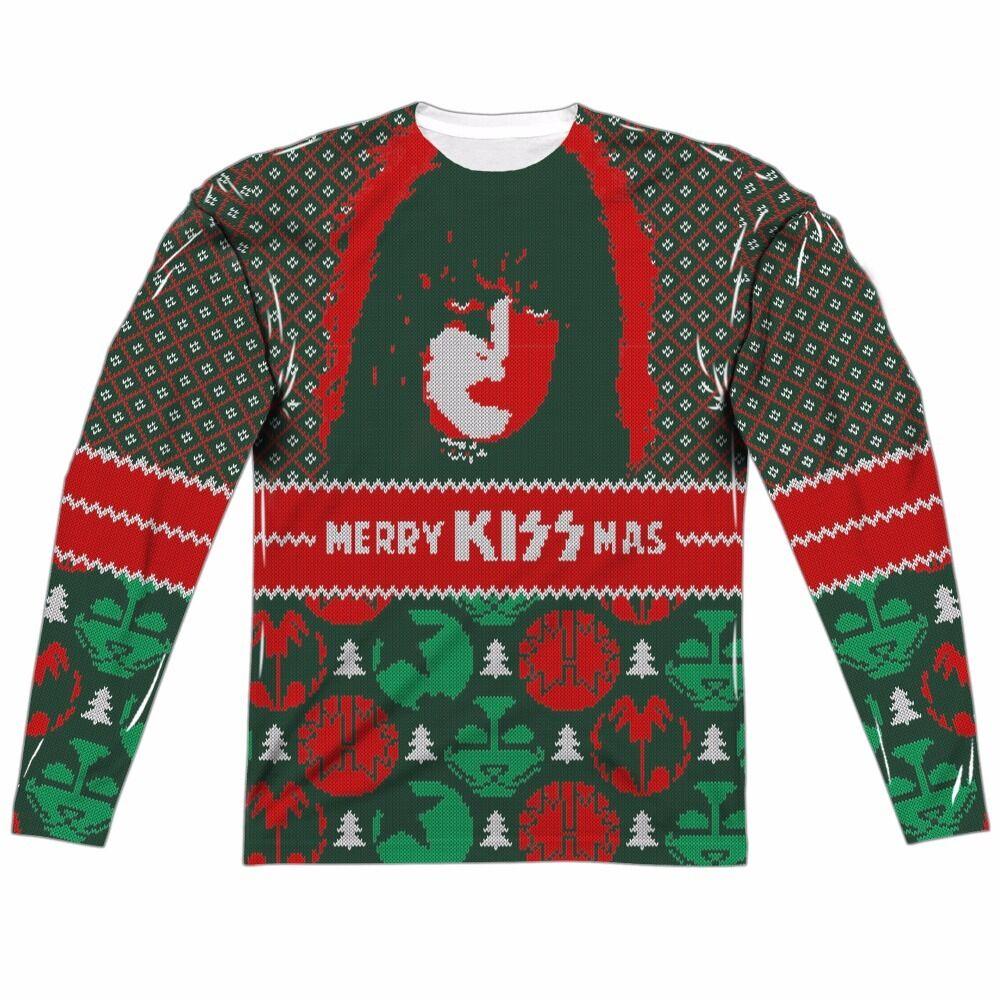 Kiss Merry Kissmas Paul Ugly Christmas Sweater Sublimation Long Sleeve Shirt