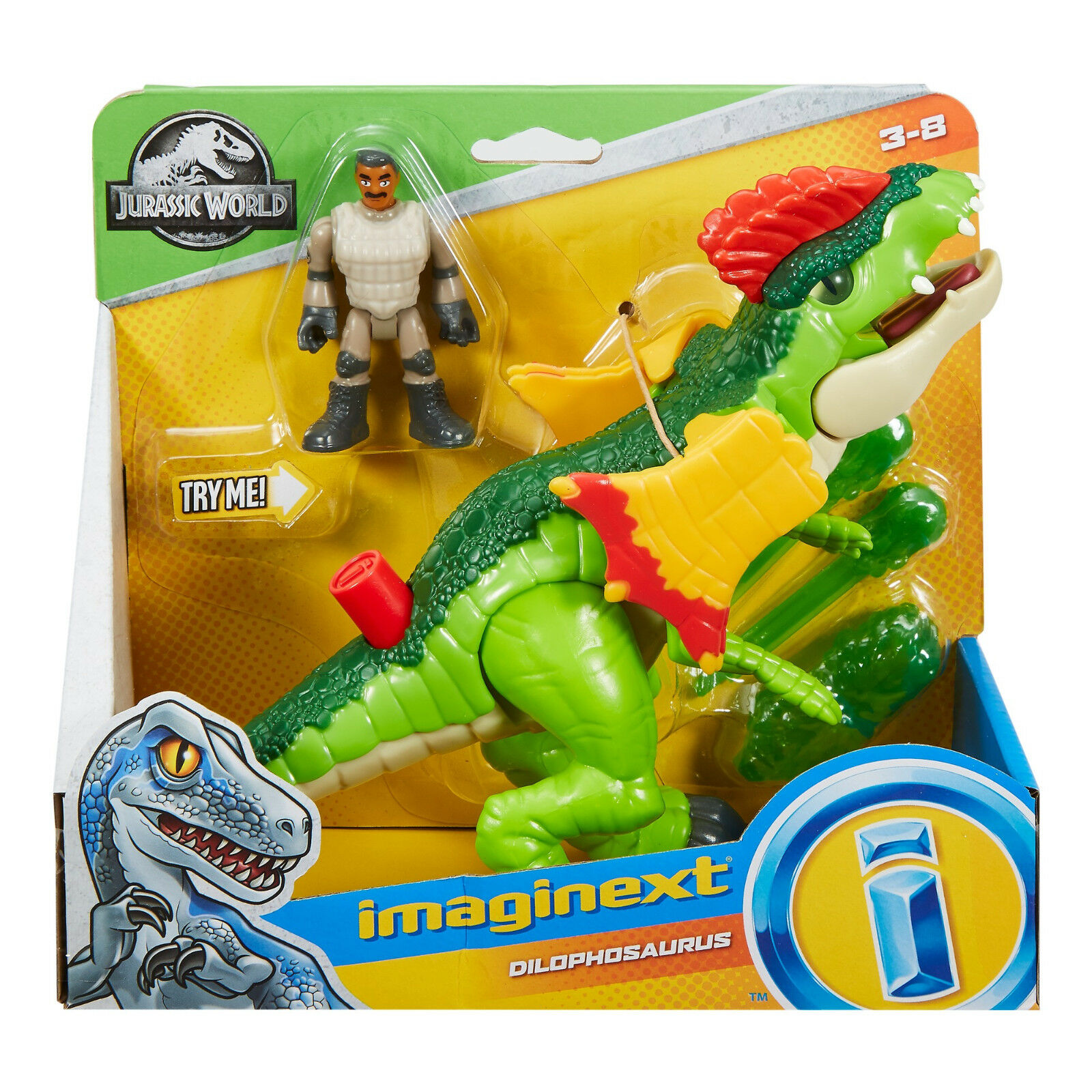 IMAGINEXT Jurassic World DILOPHOSAURUS AND AGENT FIGURE DINOSAUR SET PARK VENOM