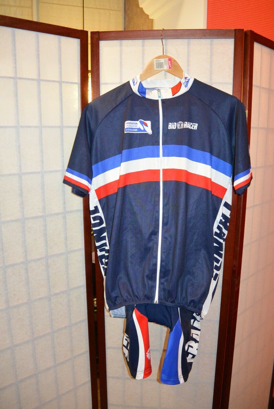 Federation Francaise CYCLISME SQUADRA CICLISMO in Jersey France con Pantaloncini L  5