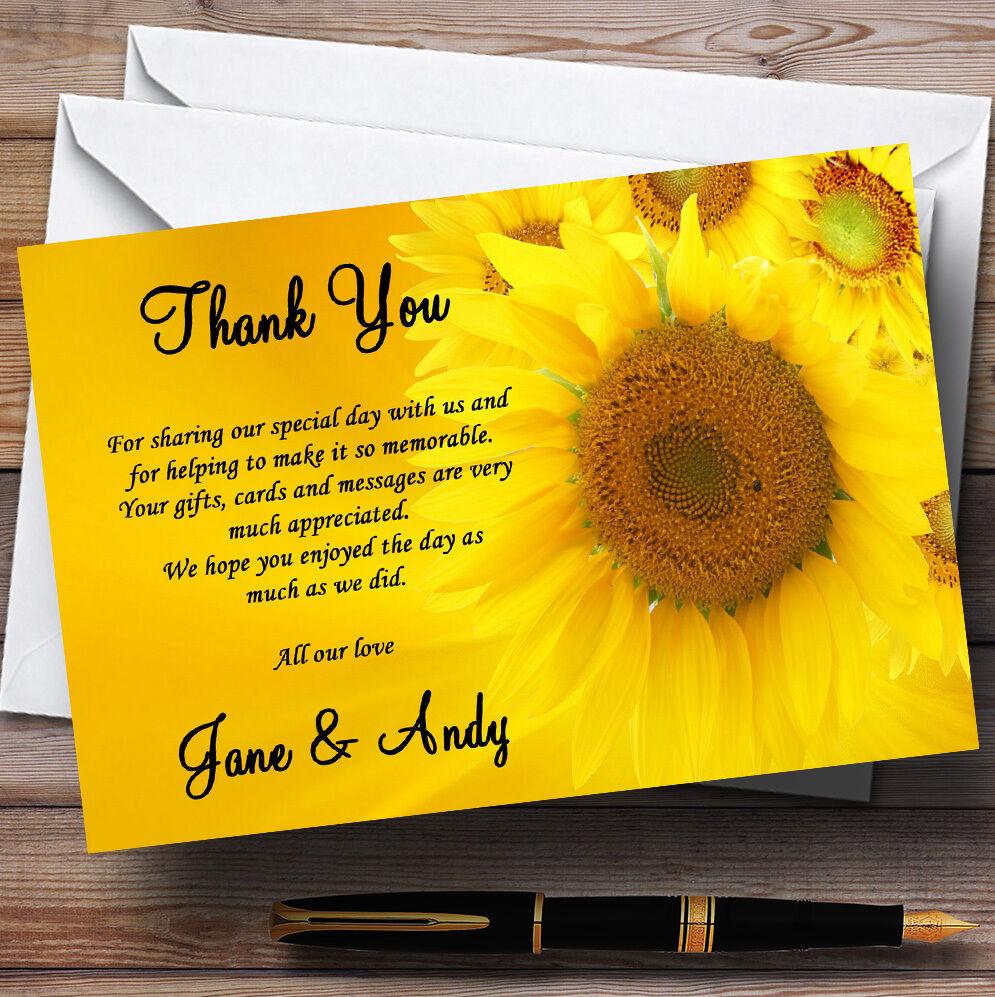 Girasoles Personalizado Boda Tarjetas De Agradecimiento