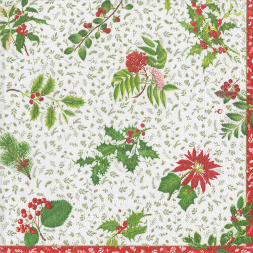 Green floral pattern napkins 4 pack of napkins ideal for decoupage free post