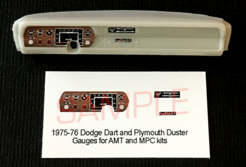 1975-1976 DODGE DART /& PLYMOUTH DUSTER GAUGE FACES for 1//25 scale AMT MPC kits