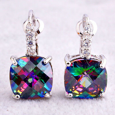 New Releases Captivating Rainbow Sapphire Gemstones Dangle Hook Silver Earring