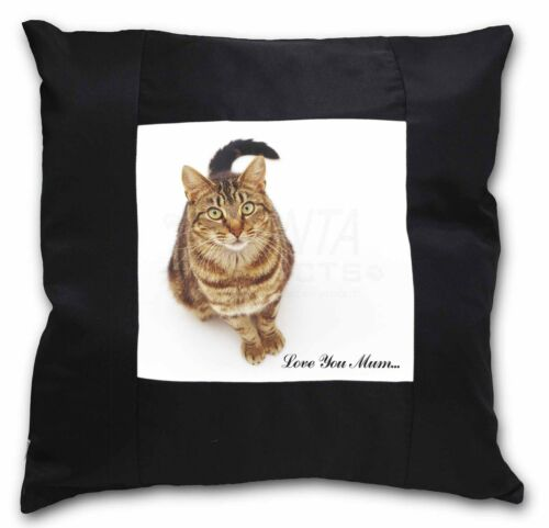 MUM-C7-CSB Tabby Cat /'Love You Mum/' Black Border Satin Feel Cushion Cover With