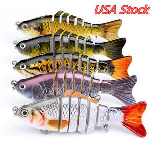 7 Segment Swimbait Lures Fishing Bait Fish Lure Crankbait Hooks 10cm G/_K xile