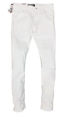 Mens White Designer Peviani Skinny Stretch Slim Fit  Denim Jeans All Waist Sizes