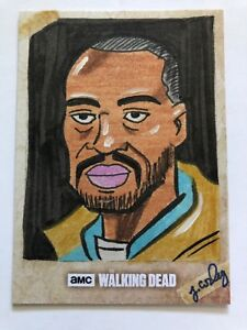 The-Walking-Dead-MORGAN-JONES-Sketch-Card-Jamie-Cosley-AMC-Topps-2016-Art