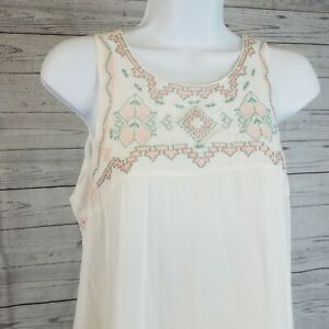 Tasha-Polizzi-Womens-Tunic-Top-Sz-Small-Ivory-Pink-Embroidered-Pockets
