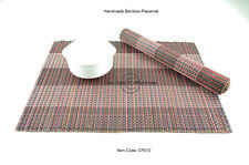 4 Handmade Chunky Bamboo Wood Placemats Table Mats, Pink-Black CP010
