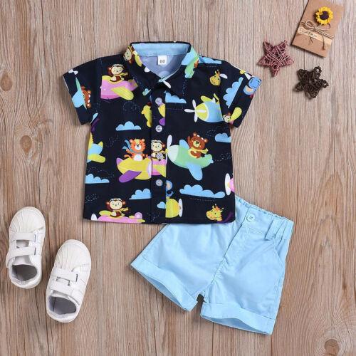 2pcs Toddler Kid Baby Boy Gentleman Clothes T-Shirt Tops+Shorts Pants Outfit Set