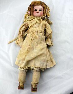 Antique-L-H-B-0-Bisque-German-Doll-Kid-Leather-Body-17-034-Needs-TLC