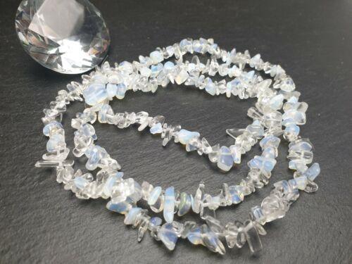 Strang 85 cm Edelstein perlas opalit claramente nuggets chips astilla DIY joyas