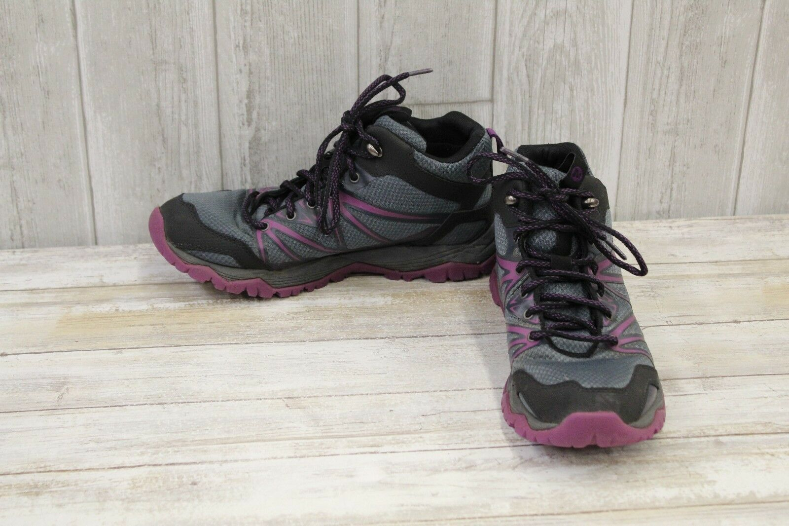 Merrell Capra Rise Mid Waterproof Hiking Shoes, Women's Size 8, Grey/Purple