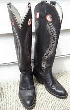 Olathe Used Buckaroo Tall Western Cowboy Boots Black Leather Mens 9E 6424 USA
