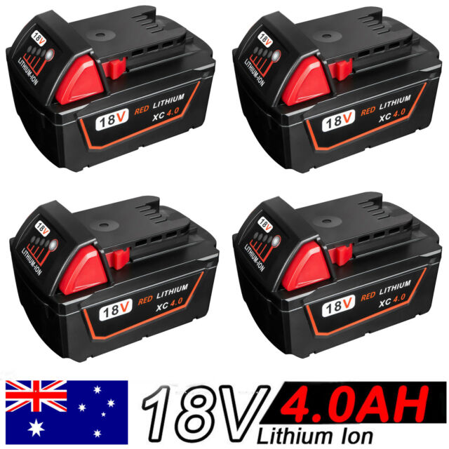 4x 4.0Ah 18V Red Lithium Ion XC 4.0 Battery For Milwaukee M18 M18B4 48-11-1828
