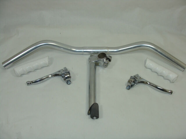 VINTAGE/RETRO BICYCLE HANDLEBAR SET c/w BARS/LEVERS/STEM/WHITE GRIPS
