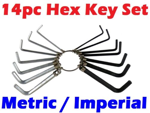 Imperial Hex Hexagon Allen Alan Key Wrench Set With Keyring Holder 14PC Metric