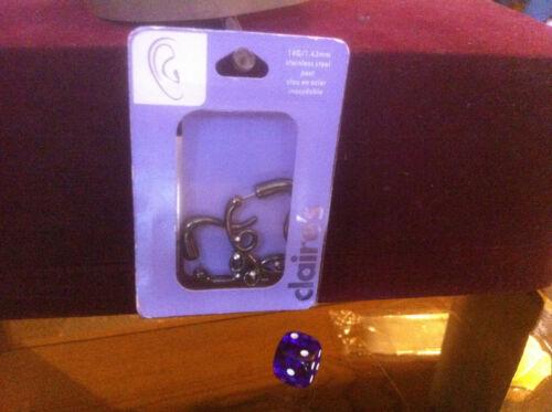 Claire/'s Claires Accessories oficial 14G 1.63 mm patrón oscuro ambos lados PVP £ 9