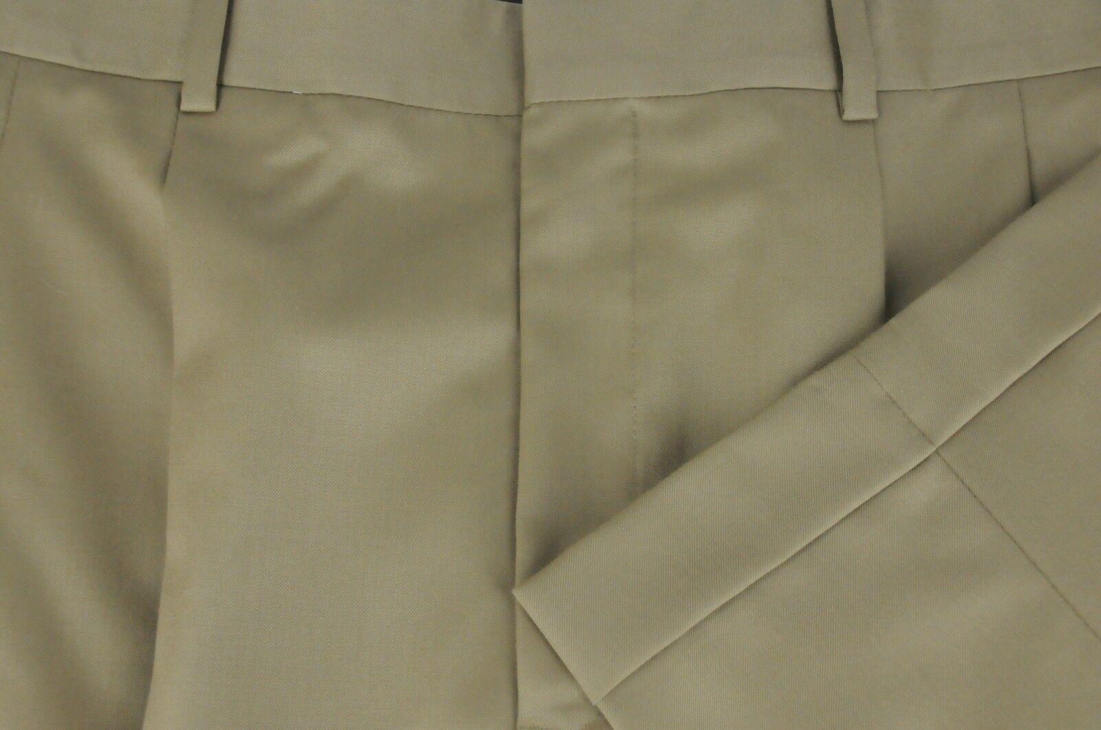 Corbin Men's Tan Wool Pleated Dress Pants 35 x 30