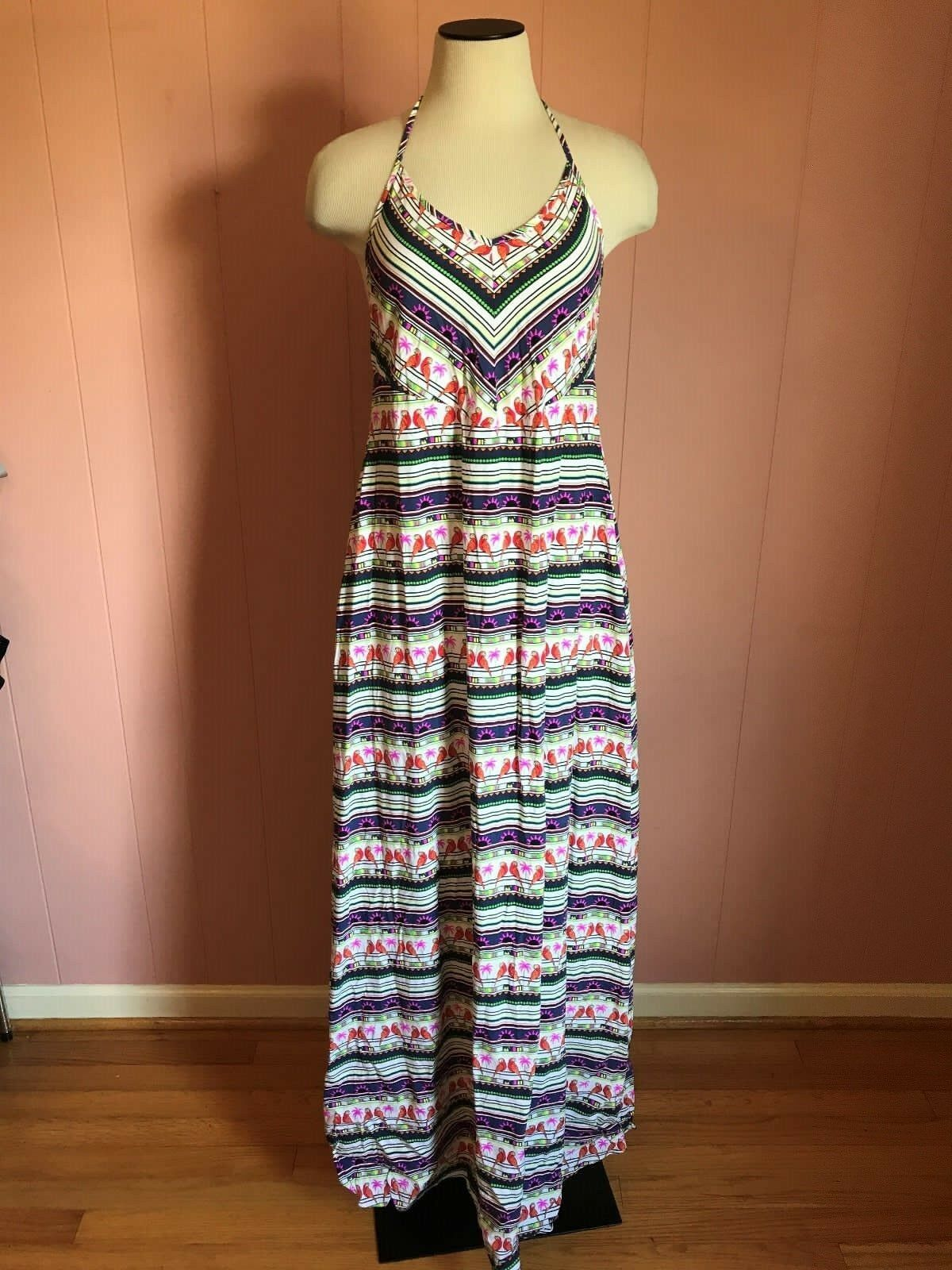Mara Hoffman for J.Crew Parred Dress L Large C0039  248 Sundress Pink bluee Multi