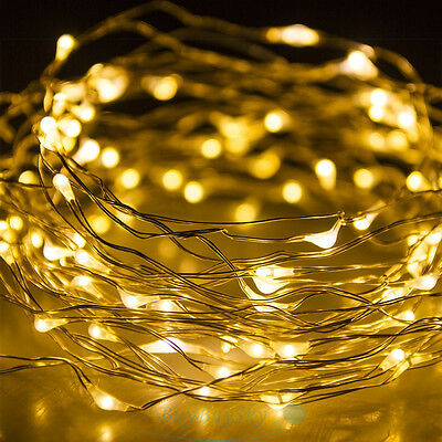 100LED 10M Copper Wire LED Twinkle Light Warm White String Fairy Lights For Xmas