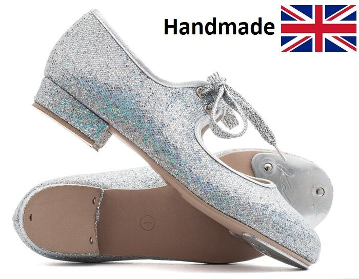 Girls Ladies Silver Glitter Low Heel Tap Dance Shoes With Toe Plates By Katz
