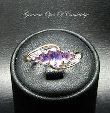 9ct Gold Amethyst and Diamond 5 stone Crossover Ring Size P 1.88g