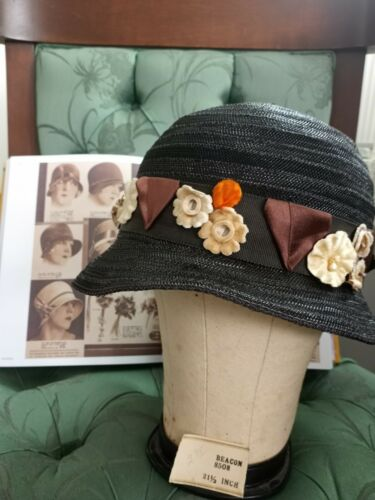 Vintage 1930's Black Straw Cloche With Tags