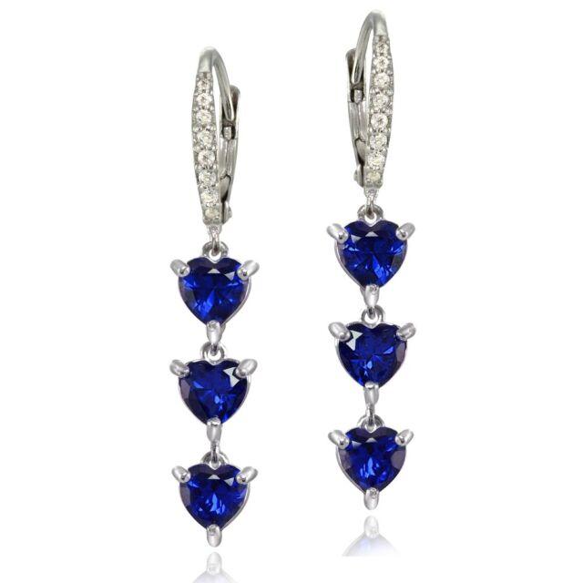 925 Silver Created Blue Sapphire /& White Topaz 3-Stone Dangle Leverback Earrings