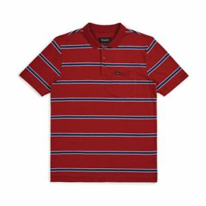 Brixton-Mens-Hilt-Washed-S-S-Polo-Burgundy-Navy-M-New